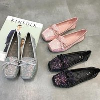 acne shoes - autumn big yards square head acne with flat shoes British casual sequined bow flat shoes