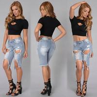 Wholesale 2016 Hot sale Fashion Denim Jeans New Women Hole Jeans Summer Denim Shorts Cotton Slim Elasticity Plus size jean keen length pants