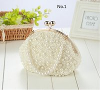 Cheap Mix Order 10pcs lot 2016 Fashion Pearls Women's Handbag Full Handmade Pearl Bridal Party Clutch Bags Woman Evening Bags 10 Designs Free DHL