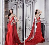 Wholesale 2016 Red Satin Indian Wedding Dress Bridal Ball Gown With Straps V Neck Court Train Applique Mermaid
