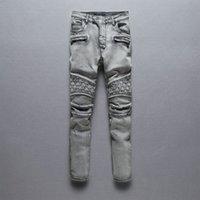 Wholesale Hip Hop Washed Pleated Skateboarding Jeans Men Motorcycle Punk Pants Stright Skinny Fit Trousers for Men Men s Low Waist Balmain Jeans Long