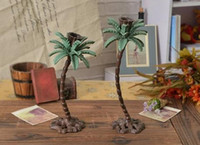 accent metal - 2 Pieces Cast Iron Tall Palm Tree Candle Holders Candlesticks Metal Hawaii Accents Home Table Decoration EMS Fast