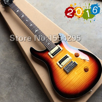 Wholesale New SE Electric guitar with White Birds Inlay Zebra Pick ups Flamed maple top Vintage Sunburst All Color are available
