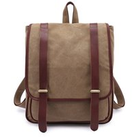 Wholesale Softpack style men s canvas leather backpack school bag backpack fashion all match travel bag from China