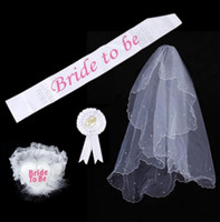 bachelorette party supply - Bride To Be Set Rosette mantilla Badge Sash Garter Veil tiara Hen Night Bachelorette wedding Party props white festive event supplies