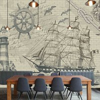Wholesale Custom photo Silk D wallpaper for walls D Living room office hotel store TV background wall covering sailboat mural wallpaper