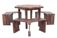 Wholesale Outdoor Furniture Solid Wood Chairs And Desk For Garden