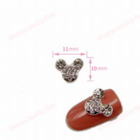 Wholesale 20pcs D Nail Art Silver Metal Mickey Heart With Crystal Rhinestone mm Studs Mate Nail Supply Polish Mate Glitters