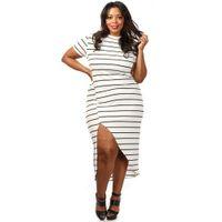 beautiful dresses for big women - XL XL plus size dresses black white stripe Irregular evening party dresses fashion elegant short sleeve dresses for big and beautiful women