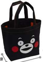 Wholesale New Cartoon Kumamon Canvas Handbag Portable Folding Pouch Lunch Bags Shopping Bags Purse Enviorment Safe Handbag GD B02