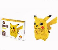 Wholesale Pikachu Micro diamond granules Blocks Poke Anime Figure Diamond DIY Building Nano Block Toy Monster kids educational toys with box