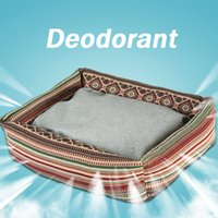 Wholesale Deodorant kennel pet bed dog waterproof mat for dog bed cat is the bed soft Leopard Print Green edge