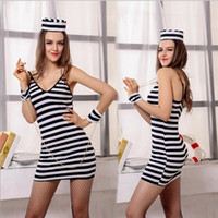 Wholesale New Adult Women Halloween Costume Prisoner Cosplay Black and White Stripes Erotogenic Braces Skirt Clothes DS Performance