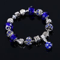 Wholesale 2016 New Arrival Fashion Blue Austria Crystal Beaded Bracelets For Women High Quality Jewelry Cheap Magnetic Clasps Strands Bracelet Fashion