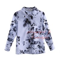Wholesale Cutestyles Spring and Autumn Boys Shirts Fashion Floral Print Long Sleeve Children Tops Gray and White Boys Shirts BT90318 L