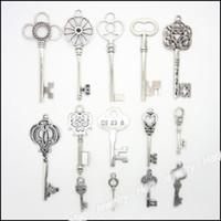 Wholesale Mixed Vintage Charms Key Pendant Antique silver Fit Bracelets Necklace DIY Metal Jewelry Making