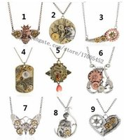 antique owl necklace - 9 Style Mix Vintage Steampunk Necklace Antique Owl Clock Spider Love Pendant Chain Necklace Jewelry For Men Women a881