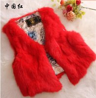 Wholesale Real fur vest new rabbit fur coat vest short paragraph fur coat Autumn and winter warm jacket