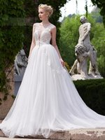 accord training - The new marriage gauze Open Back run Neck Appliques A Line Court Train Wedding Dress we can make according to the size