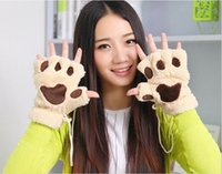 Wholesale The winter dew refers to the thermal explosion of cartoon bear cat claw glove lady lovely Plush gloves