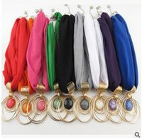 Wholesale DHL FREE Classic Circle Pendant Scarf Europe Popular Jewelry Pendent Scarves Ladies Scarves Mix Colors