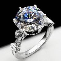 al por mayor anillos de compromiso de diamantes redondos-Anillo de boda de la corona de la manera de Vecalon para las mujeres Corte redondo 3ct Simulado diamante Cz 925 anillo de la venda de compromiso de la plata esterlina