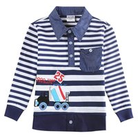 Wholesale 2016 Fashion Boys Clothes T shirt Stripe Polo Neck Blue Casual Long Sleeve Cotton