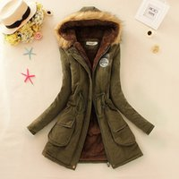 Wholesale 2016 new Winter Womens Parka Casual Outwear Military Hooded Coat Winter Jacket Women Fur Coats Woman Clothes female manteau