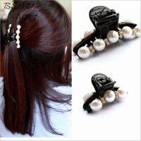 Wholesale Pearl crystal Hairpin Rhinestone hair barrette clip women hair accessory black Plastic hair claw Elegant for lady girls