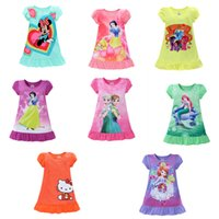 Wholesale 2016 summer girls dresses Elsa Anna Mermaid Sofia Snow White Minnie Cartoon kids pajamas polyester nightgowns sleepwear clothes E1189