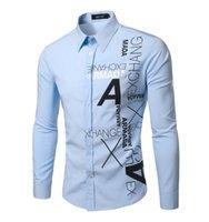 best slim fit shirts - Best selling Long Sleeve Male Shirt Fashion Casual Men Letter Slim Fit Shirt Turn down Collar Men Shirts