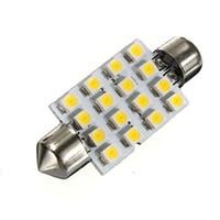 42mm de haute qualité 16 LED 3528 1210 SMD Blanc Chaud Car Auto Intérieur Dôme Festoon Lumières de lecture Carte Lampe Bulb DC12V