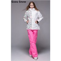 Wholesale Quality Gsou snow ski suit women snowboard set Sport Suit Waterproof windproof outdoor suit lady jacket outer tracksuit