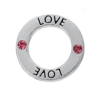 affirmations for love - Myshape Antique silver plated Affirmation charms Engravesd Letter LOVE circle charms Crystal jewelry for bracelet necklaces