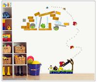 art glass birds - Angry Bird Wall Stickers Cartoon D Birds Wallpapers Movie Wall Decals Children Removable Novelty cm PVC Wallpaper For Kids Room DHL