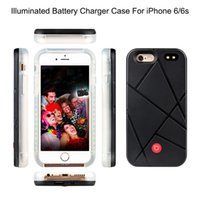 Wholesale 1800MA Charge Luxury llluminated Phone Case Selfie TPU Genuine Leather Cover Case For iPhone5S SE S Plus with LED light Color