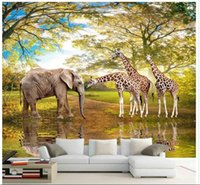 animal sounds pictures - 3d wallpaper custom photo non woven mural modern animals elephants giraffes decoration painting picture d wall room murals wallpaper