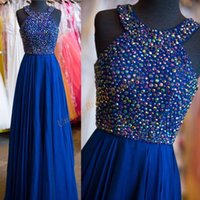 ad lines - Prom Dresses with Crystals Bodice ad Beaded Neck Real Pictures Fuchsia Chiffon Long Bridesmaid Gowns Sexy Back Silver Dance Dress