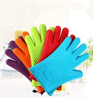 Wholesale g Silicone Cooking Gloves Heat Resistant Oven Mitt For Grilling BBQ Kitchen Safe handling Non Slip Protective Silicone Gloves