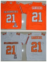 Wholesale Oklahoma State NCAA College Barry Sanders Football Jerseys Home Road Away Orange White Fashion Breathable Embroidery And Sewing Logo