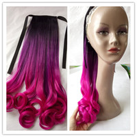 Wholesale New Fashion Summer Style B Purple Rose Red Ombre T Color Drawstring Ponytails Synthetic Colorful quot Wavy Hair Piece Extensions