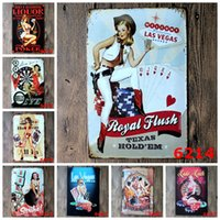 Wholesale quot Casino quot cm Vintage Metal Painting Tin Signs Bar Gambling House Gallery Shop Wall Decor Retro Mural Poster Home Decor Craft