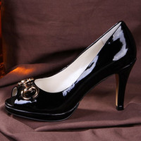 Wholesale A1401 size Fashion Genuine Leather Patent OL peep toes pumps Lady High Heel Shoes party shoes wedding sexy shoes