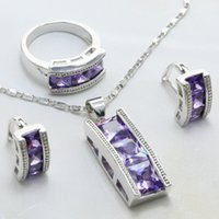 Wholesale Silver Plated Zinc Alloy With Attractive Purple Cubic Zirconia Stone Main Women Fashion Romantic ewelry Earrings Set Ring Pendant S198