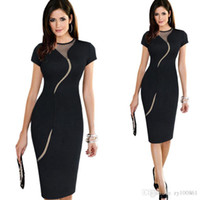 Wholesale 2016 Hot selling Sexy Illusion Fashion Mesh Women Club wear Full Zip Back Black Patchwork Elegant Slim Pencil dress