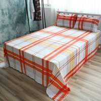 Wholesale Cotton Bed Linen Checked Sheet Sets Gradient Grids Sheet Queen Fitted Sheet Twin Case Beddig Sets