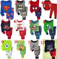 venda por atacado pyjama-Atacado-New Kids desenhos animados Pijamas Crianças Superman sono usa para 2-12 anos Criança PJS Batman Pyjamas frete grátis