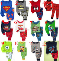 Wholesale New Kids Cartoon Pajamas Children Superman Sleep wears for years Toddler PJS Batman Pyjamas