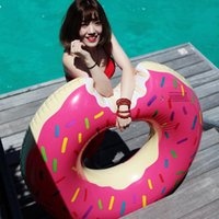 Wholesale 2016 new Inch m Pink Chocolate Gigantic Donut Swimming Float Inflatable Swimming Ring Adult pool floats Water Rafts Free shiping