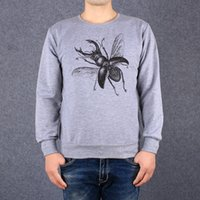 Wholesale Spring Autumn Women Men Pullover Thin Sweatshirt Casual Crewneck Long Sleeve T shirt Insect Illustration Stag Beetle Printed Hoody